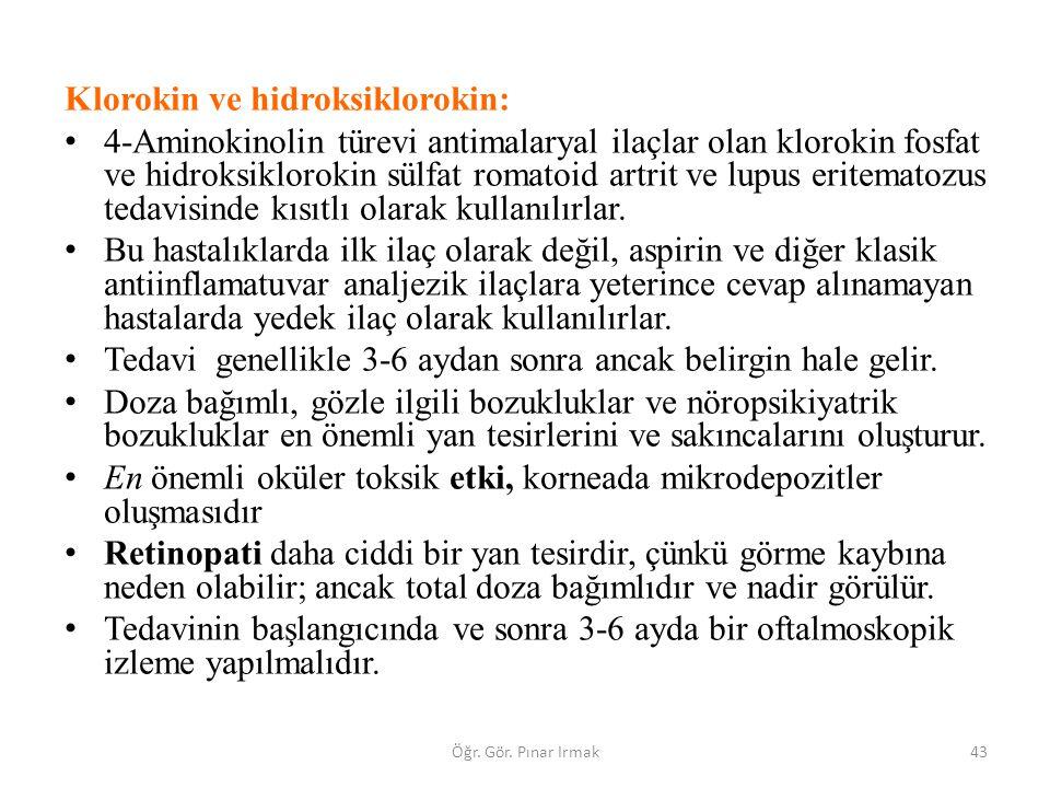 Klorokin ve hidroksiklorokin: