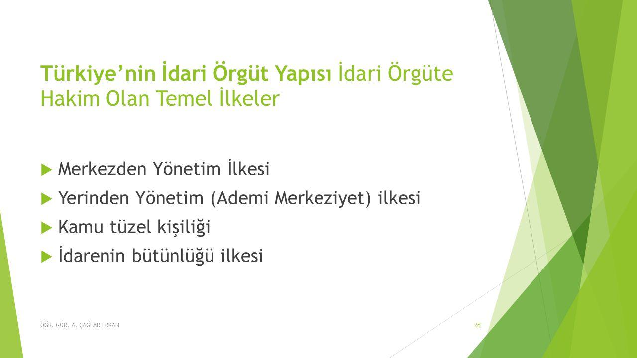 Türkiye'nin İdari Örgüt Yapısı İdari Örgüte Hakim Olan Temel İlkeler