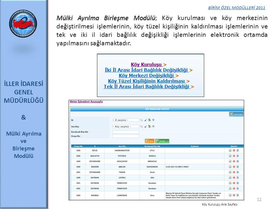İLLER İDARESİ GENEL MÜDÜRLÜĞÜ &