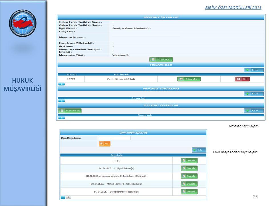 HUKUK MÜŞAVİRLİĞİ BİRİM ÖZEL MODÜLLERİ 2011 Mevzuat Kayıt Sayfası