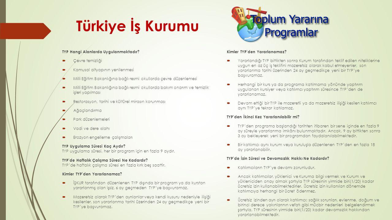 Türkiye İş Kurumu TYP Hangi Alanlarda Uygulanmaktadır Çevre temizliği