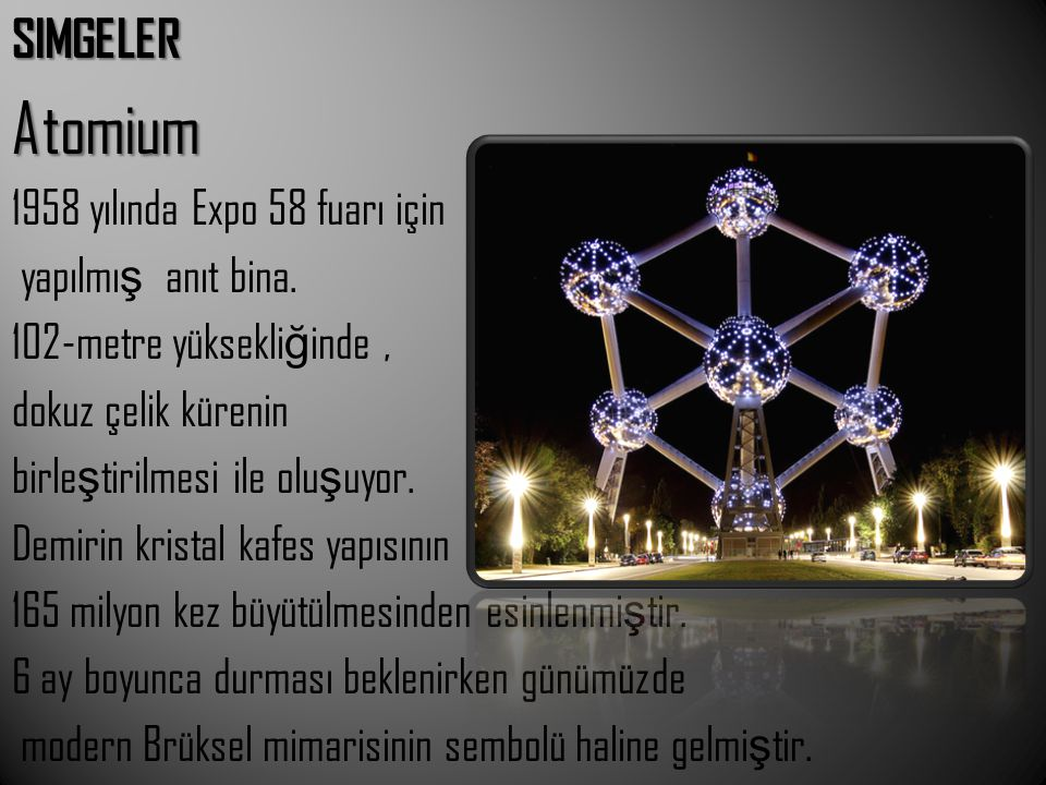 Atomium SIMGELER 1958 yılında Expo 58 fuarı için yapılmış anıt bina.