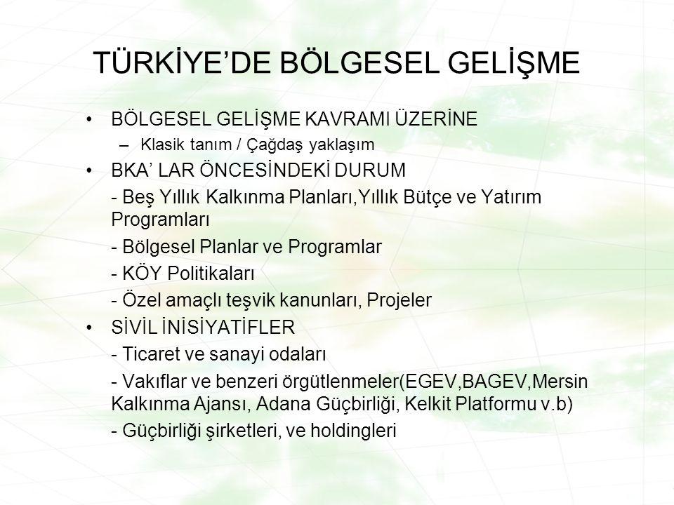 TÜRKİYE'DE BÖLGESEL GELİŞME