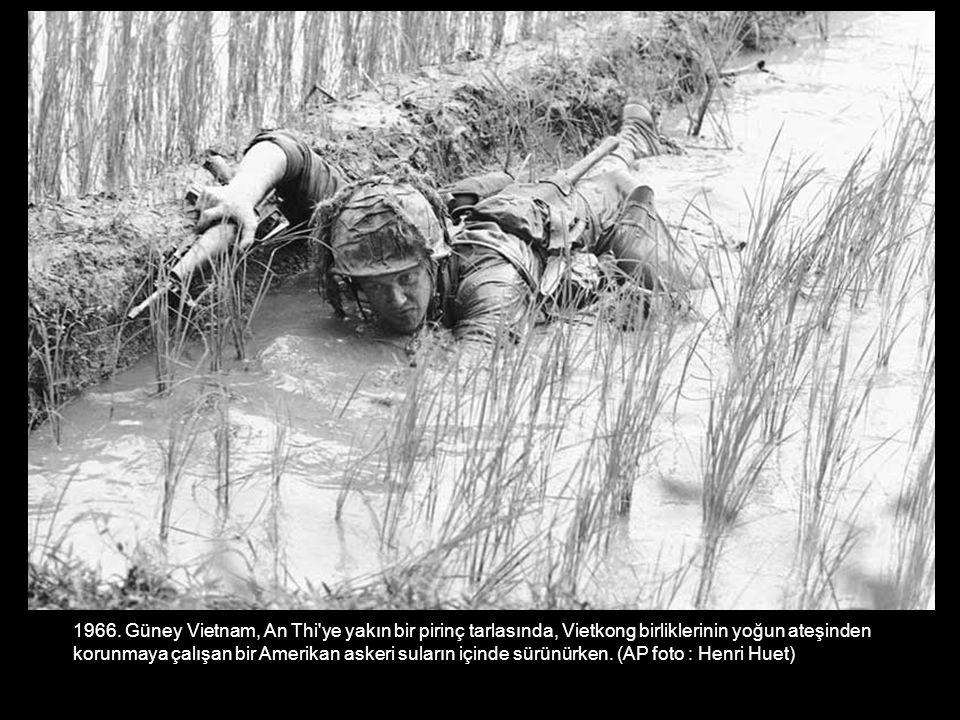 1966. Güney Vietnam, An Thi ye yakın bir pirinç tarlasında, Vietkong birliklerinin yoğun ateşinden