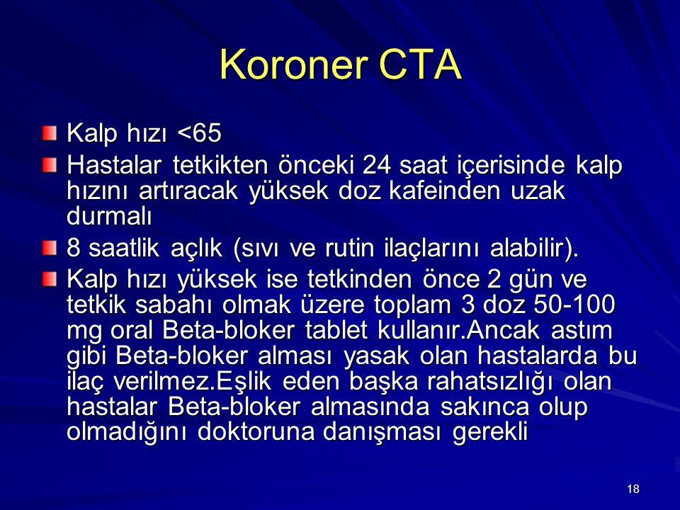 Koroner CTA Kalp hızı <65