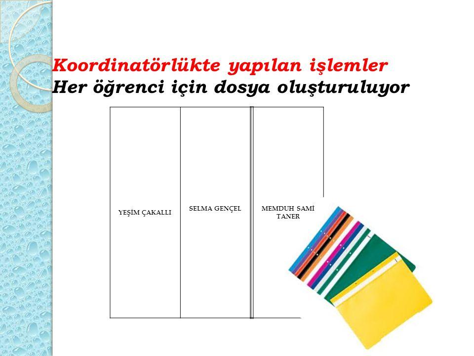 Koordinatörlükte yapılan işlemler Her öğrenci için dosya oluşturuluyor