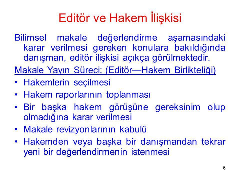 Editör ve Hakem İlişkisi