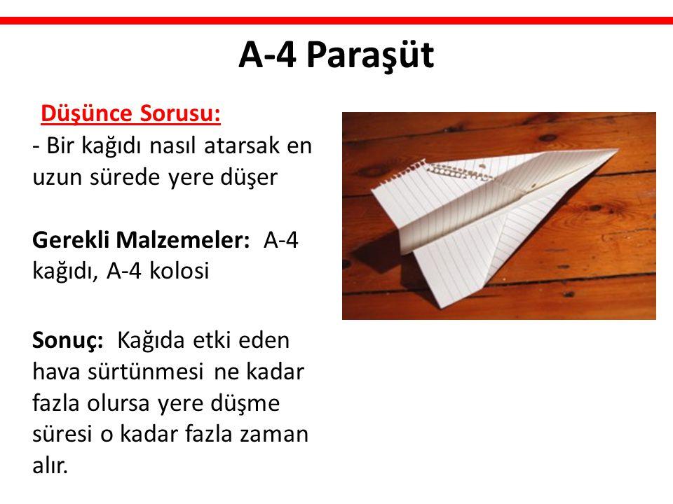 A-4 Paraşüt Düşünce Sorusu: - Bir kağıdı nasıl atarsak en uzun sürede yere düşer Gerekli Malzemeler: A-4 kağıdı, A-4 kolosi.