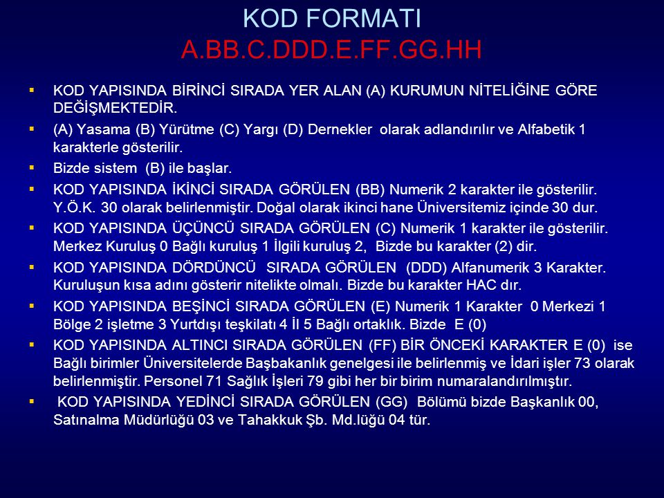 KOD FORMATI A.BB.C.DDD.E.FF.GG.HH