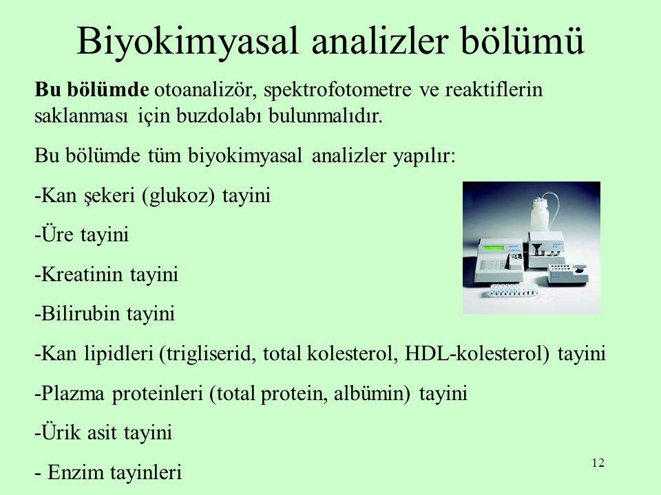 Biyokimyasal analizler bölümü