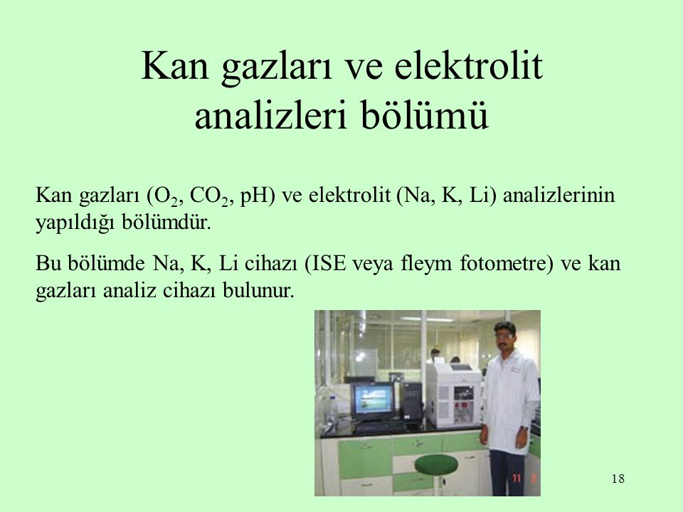 Kan gazları ve elektrolit analizleri bölümü