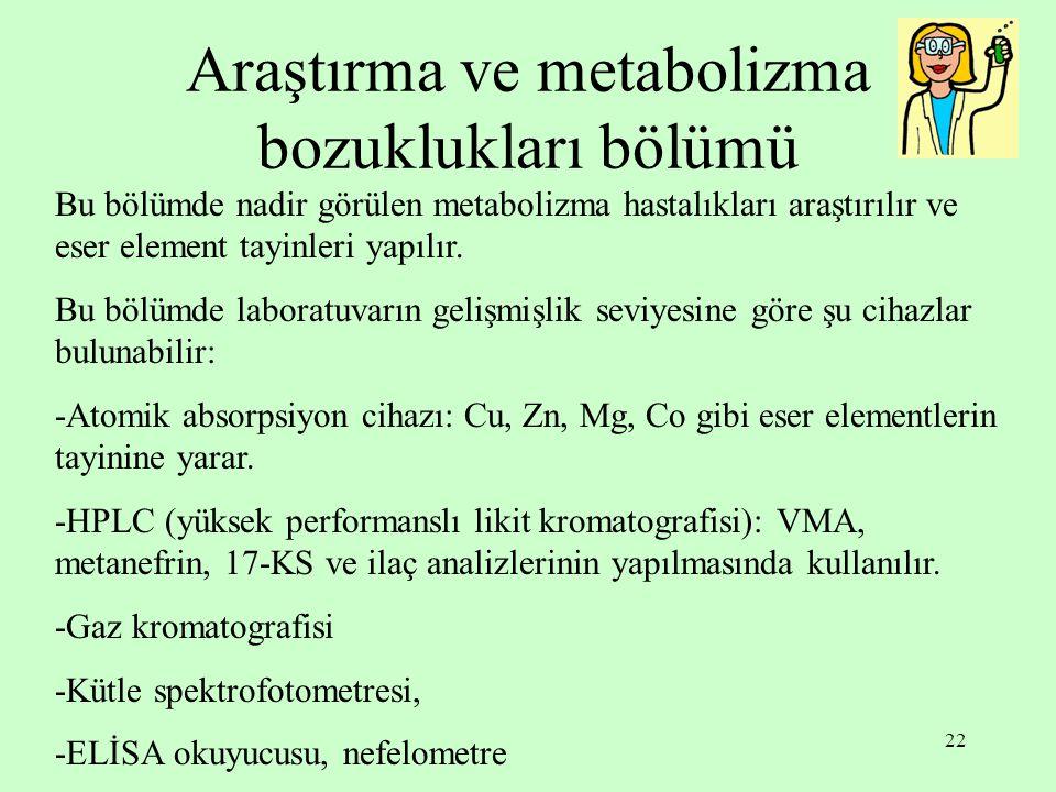 Araştırma ve metabolizma bozuklukları bölümü