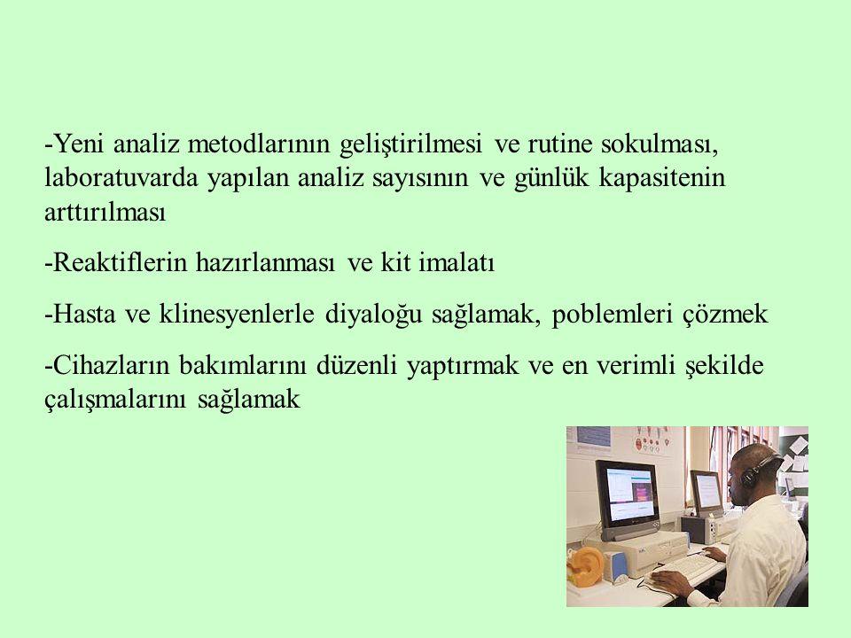 -Yeni analiz metodlarının geliştirilmesi ve rutine sokulması, laboratuvarda yapılan analiz sayısının ve günlük kapasitenin arttırılması