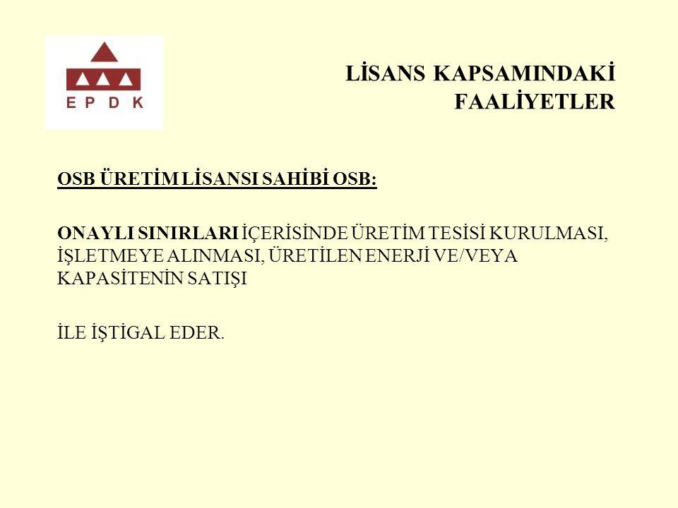 LİSANS KAPSAMINDAKİ FAALİYETLER