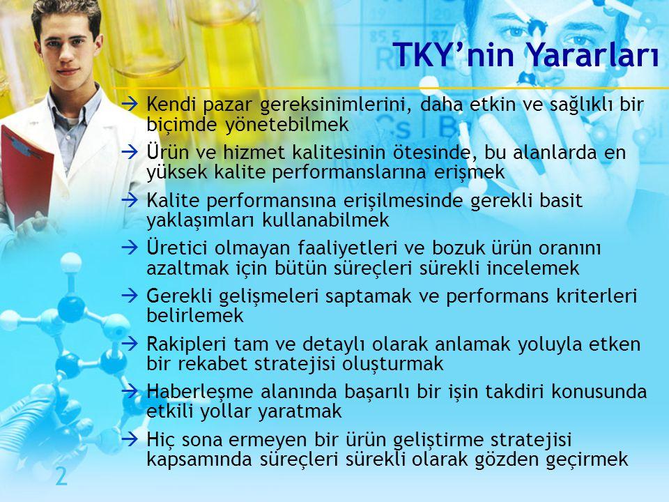 TKY'nin Yararları Kendi pazar gereksinimlerini, daha etkin ve sağlıklı bir biçimde yönetebilmek.