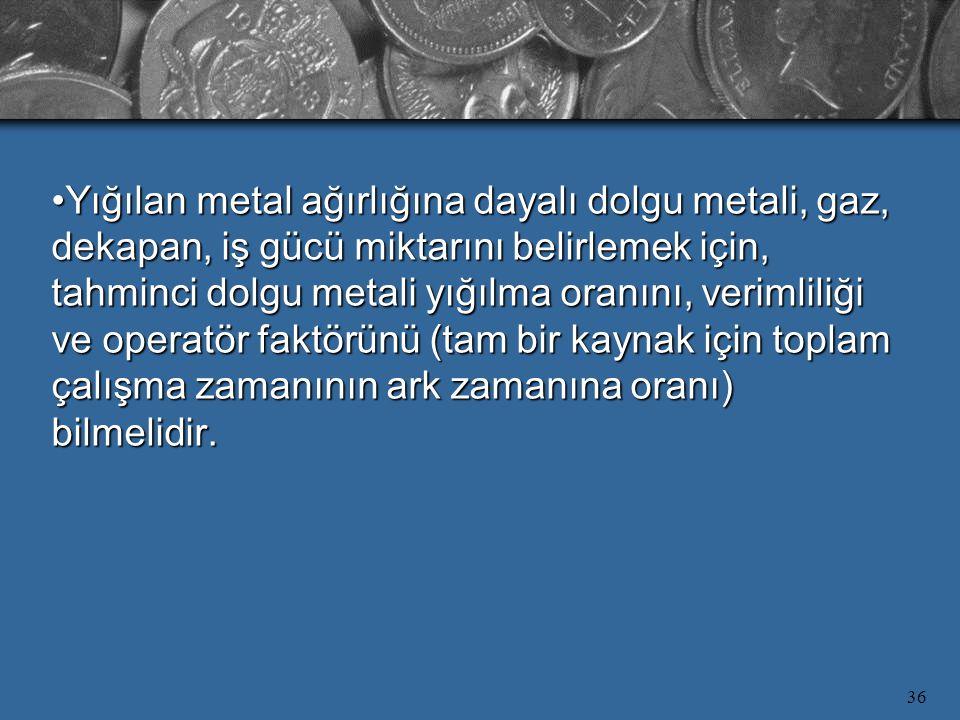 Yığılan metal ağırlığına dayalı dolgu metali, gaz, dekapan, iş gücü miktarını belirlemek için, tahminci dolgu metali yığılma oranını, verimliliği ve operatör faktörünü (tam bir kaynak için toplam çalışma zamanının ark zamanına oranı) bilmelidir.