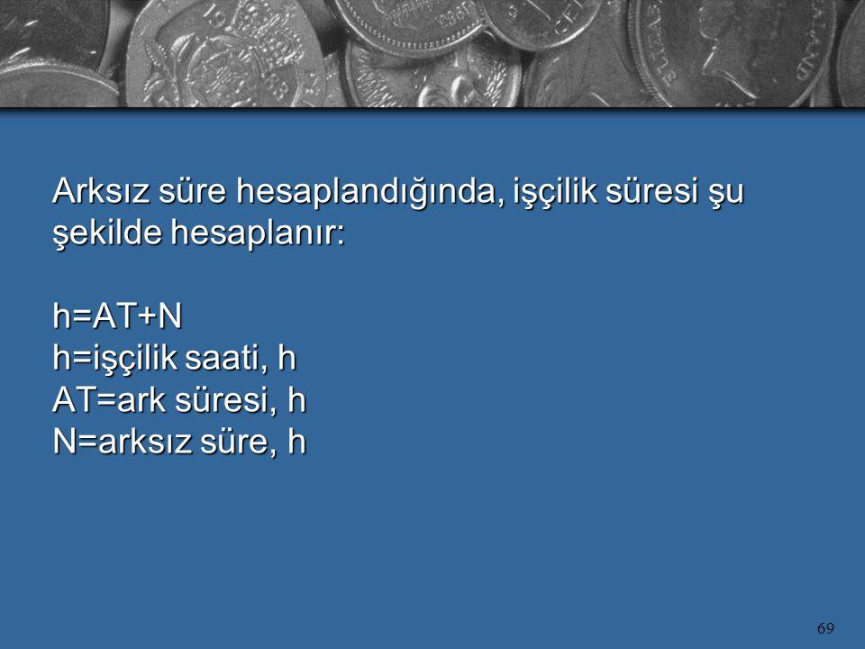 Arksız süre hesaplandığında, işçilik süresi şu şekilde hesaplanır: h=AT+N h=işçilik saati, h AT=ark süresi, h N=arksız süre, h