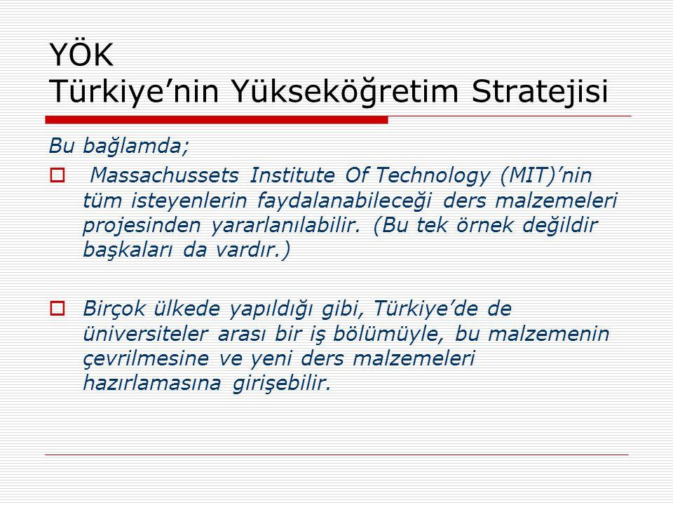 YÖK Türkiye'nin Yükseköğretim Stratejisi