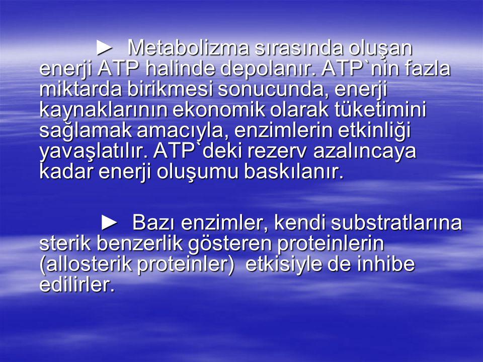► Metabolizma sırasında oluşan enerji ATP halinde depolanır