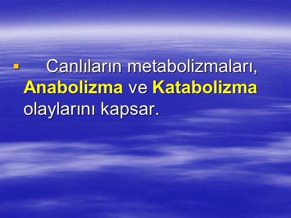 Canlıların metabolizmaları, Anabolizma ve Katabolizma olaylarını kapsar.