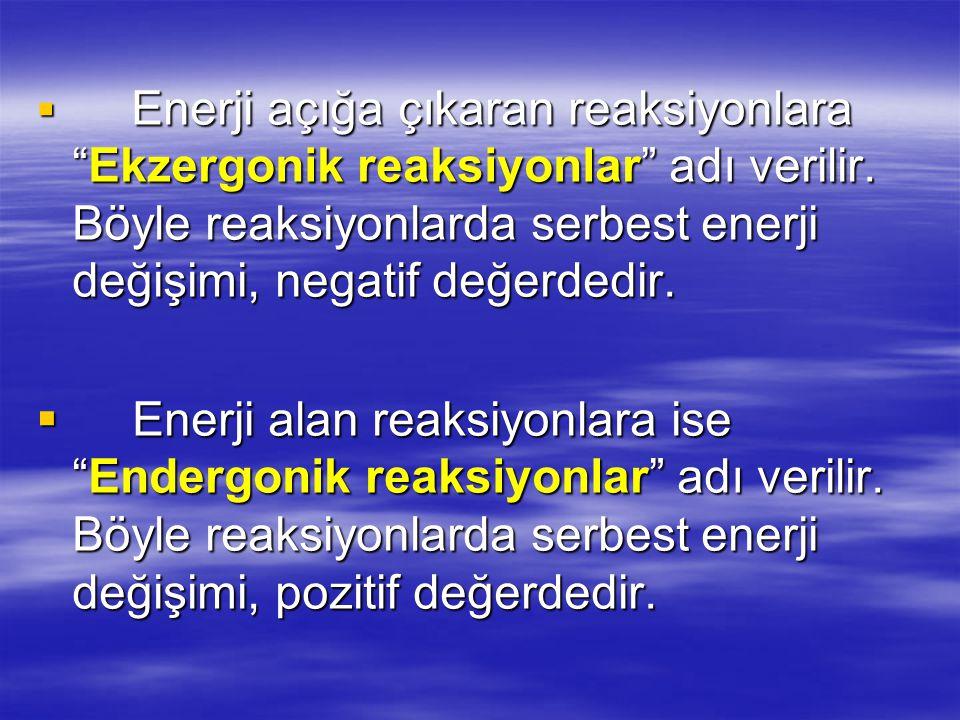Enerji açığa çıkaran reaksiyonlara Ekzergonik reaksiyonlar adı verilir. Böyle reaksiyonlarda serbest enerji değişimi, negatif değerdedir.