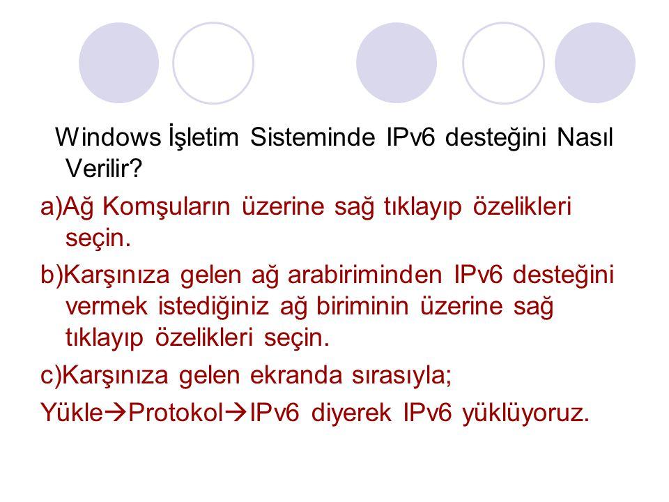 Windows İşletim Sisteminde IPv6 desteğini Nasıl Verilir
