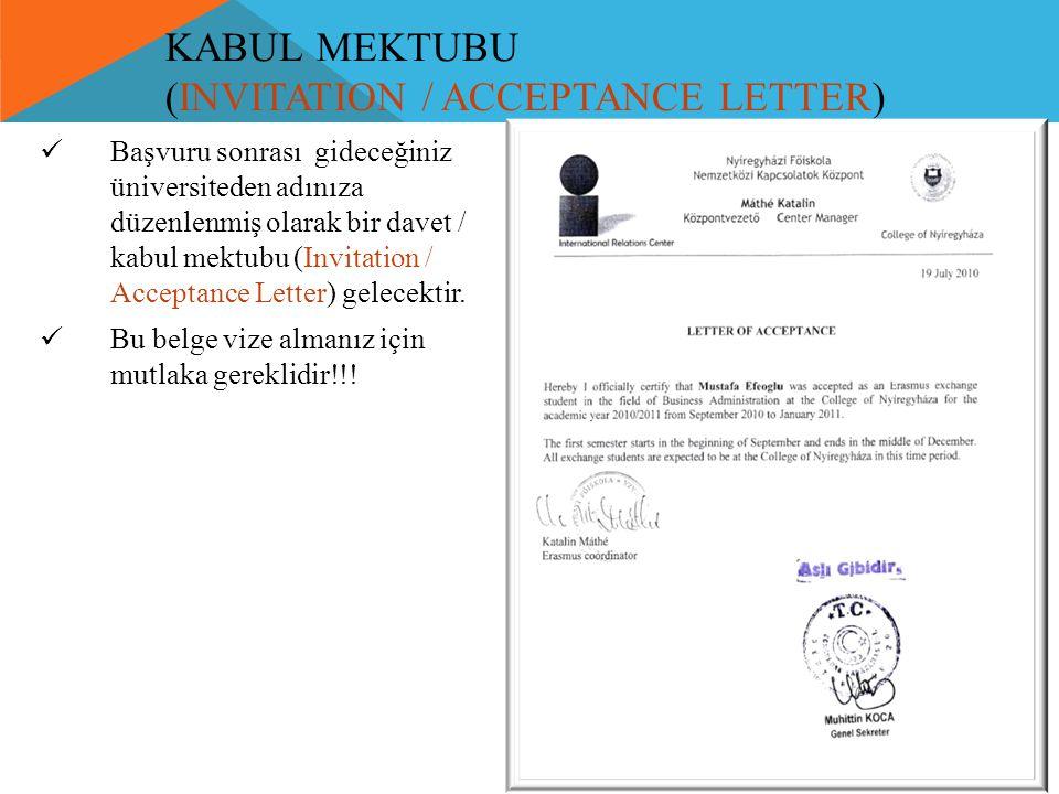 KABUL MEKTUBU (INVITATION / ACCEPTANCE LETTER)