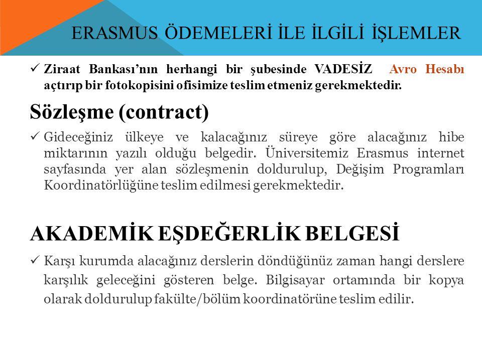 ERASMUS ÖDEMELERİ İLE İLGİLİ İŞLEMLER