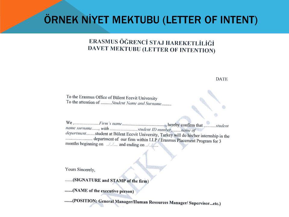 ÖRNEK NİYET MEKTUBU (LETTER OF INTENT)