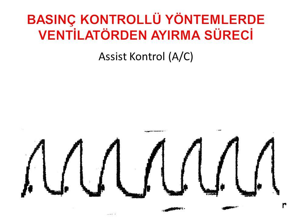Assist Kontrol (A/C) Hem spontan hem de bebeğin spontan aldığı soluklar ventilatör tarafından tamamen desteklenir.
