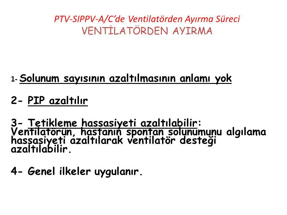 PTV-SIPPV-A/C'de Ventilatörden Ayırma Süreci VENTİLATÖRDEN AYIRMA