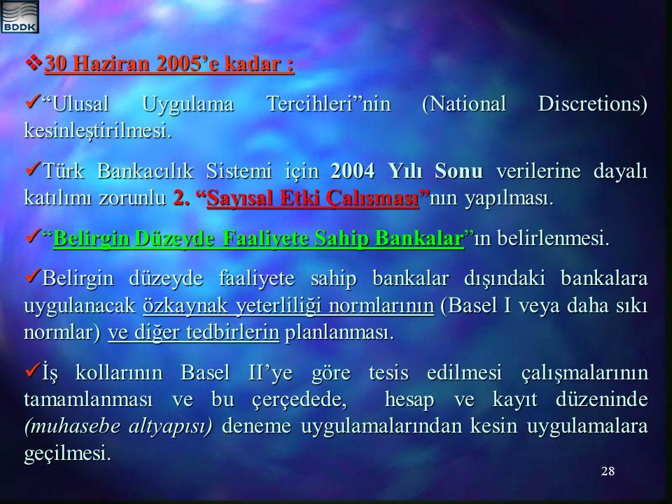 30 Haziran 2005'e kadar :  Ulusal Uygulama Tercihleri nin (National Discretions) kesinleştirilmesi.