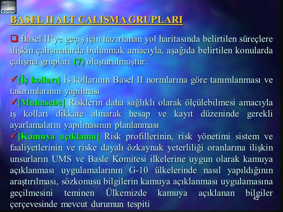 BASEL II ALT ÇALIŞMA GRUPLARI