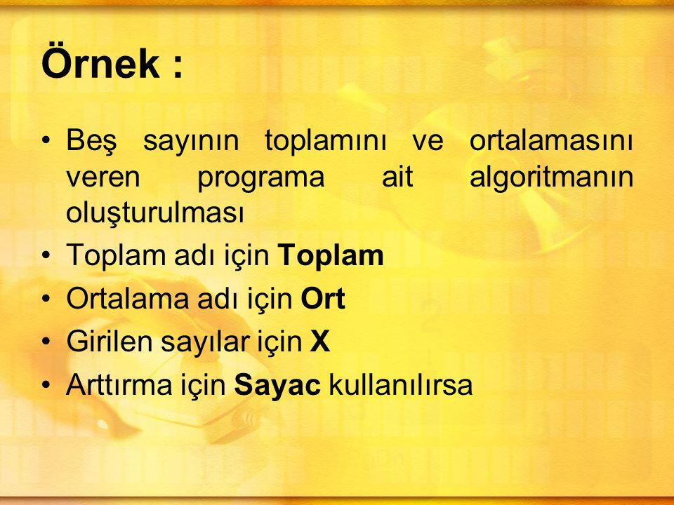 Örnek : Beş sayının toplamını ve ortalamasını veren programa ait algoritmanın oluşturulması. Toplam adı için Toplam.
