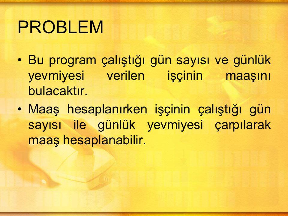 PROBLEM Bu program çalıştığı gün sayısı ve günlük yevmiyesi verilen işçinin maaşını bulacaktır.