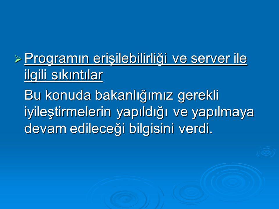 Programın erişilebilirliği ve server ile ilgili sıkıntılar