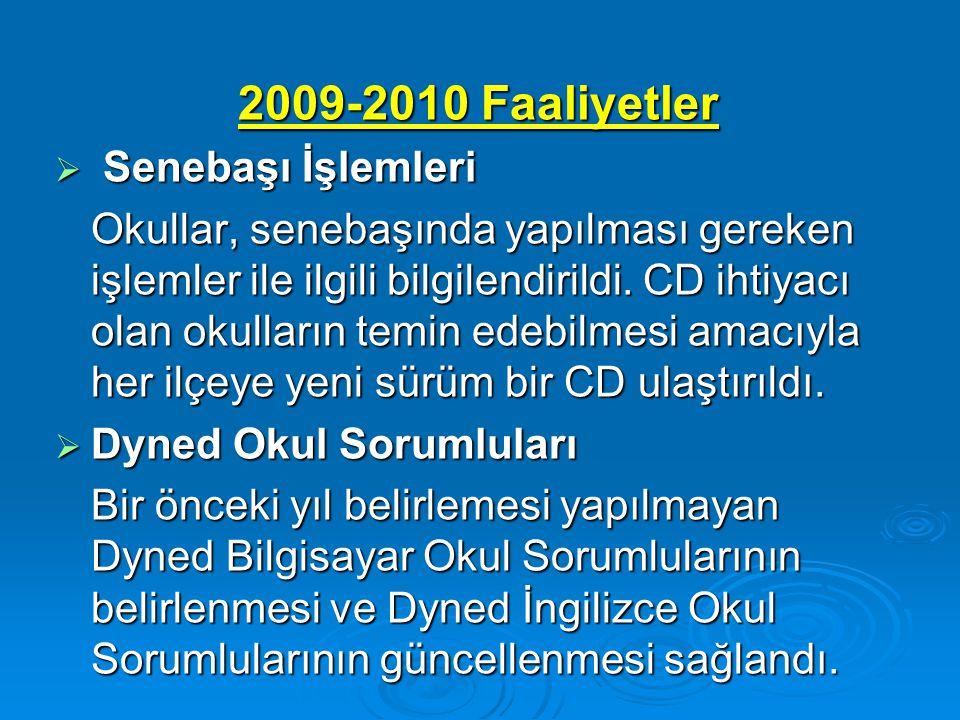 2009-2010 Faaliyetler Senebaşı İşlemleri