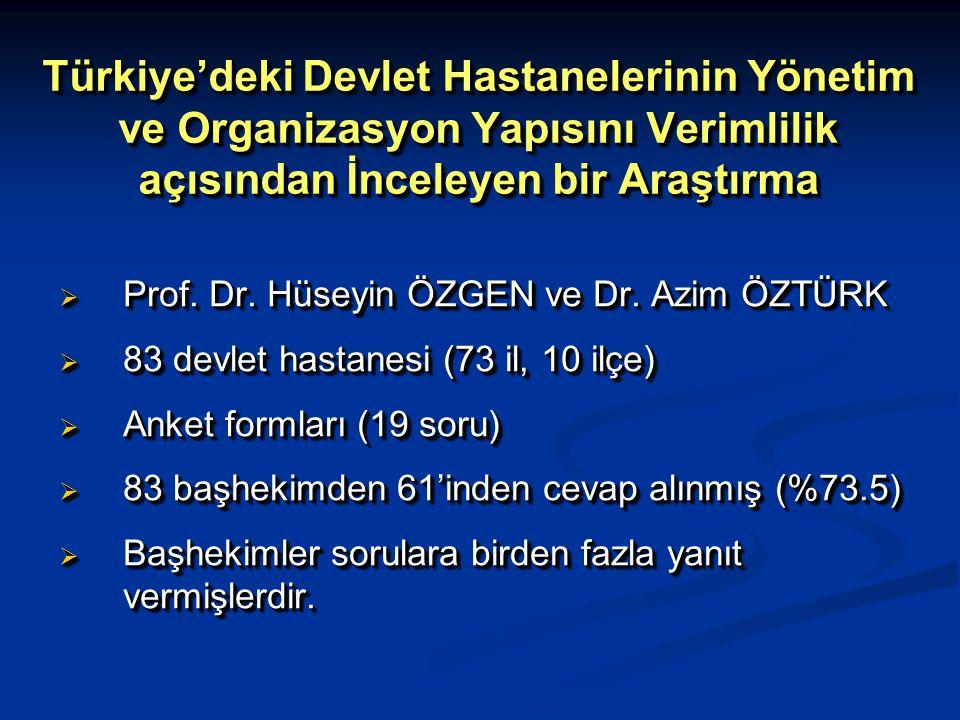 Türkiye'deki Devlet Hastanelerinin Yönetim ve Organizasyon Yapısını Verimlilik açısından İnceleyen bir Araştırma