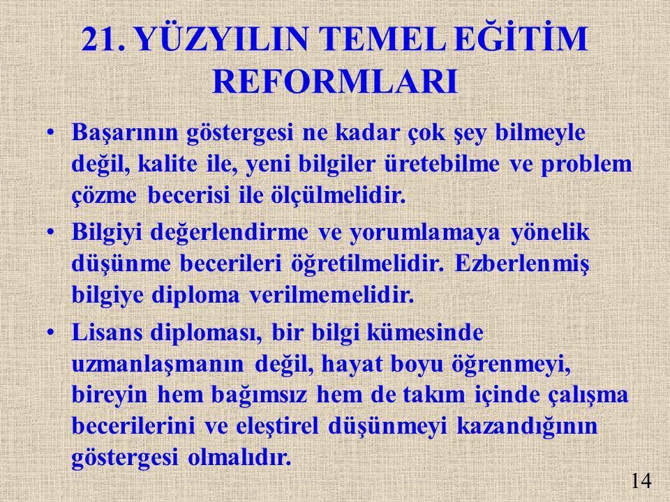 21. YÜZYILIN TEMEL EĞİTİM REFORMLARI