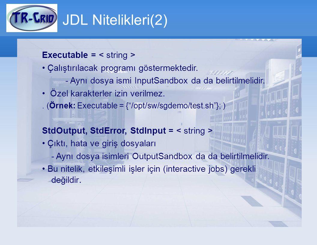 JDL Nitelikleri(2) Executable = < string >