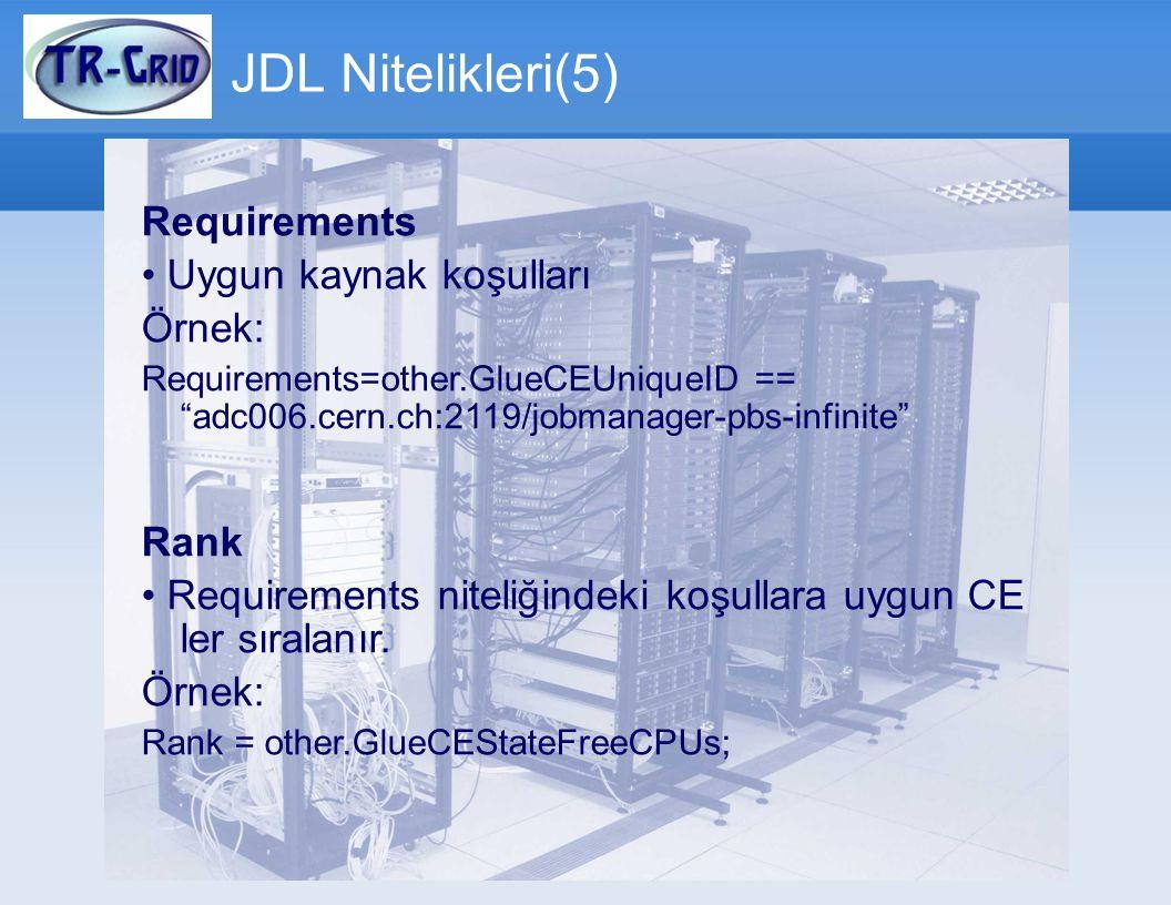 JDL Nitelikleri(5) Requirements • Uygun kaynak koşulları Örnek: Rank