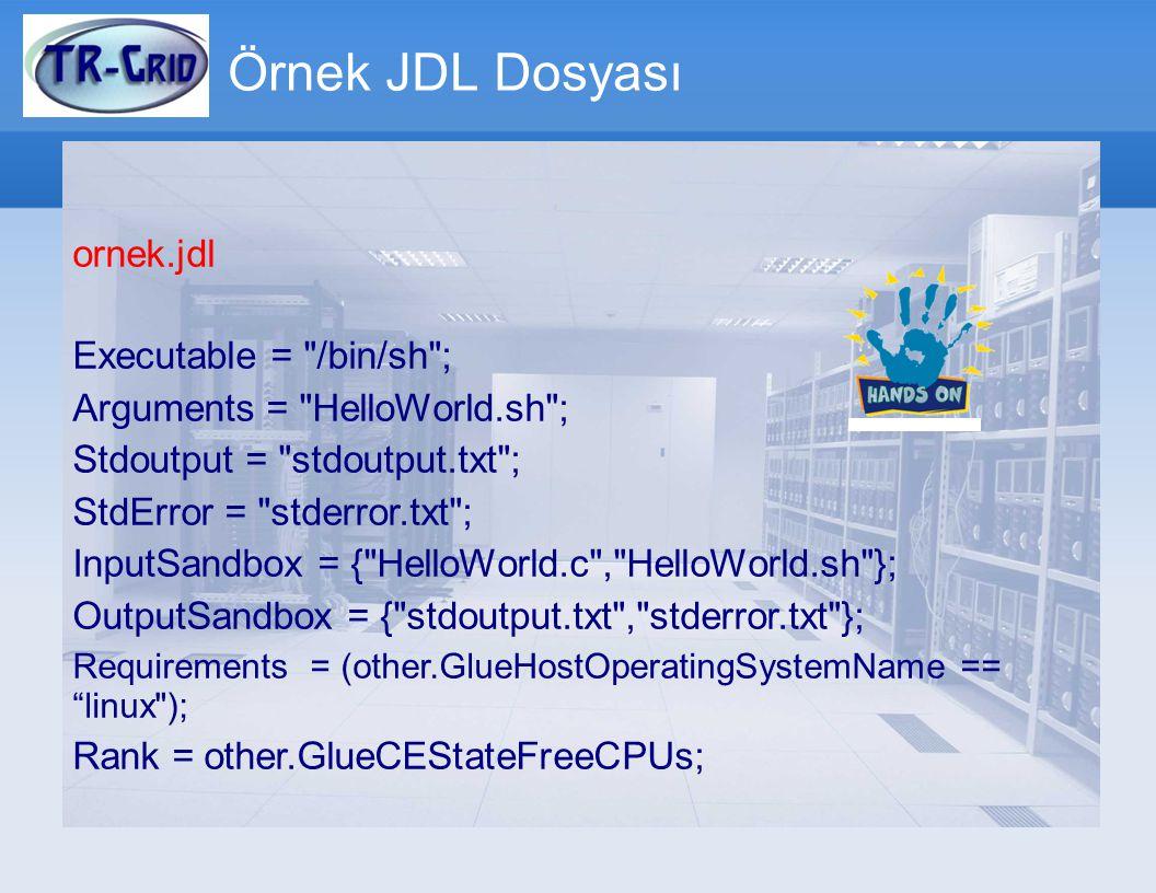 Örnek JDL Dosyası ornek.jdl Executable = /bin/sh ;