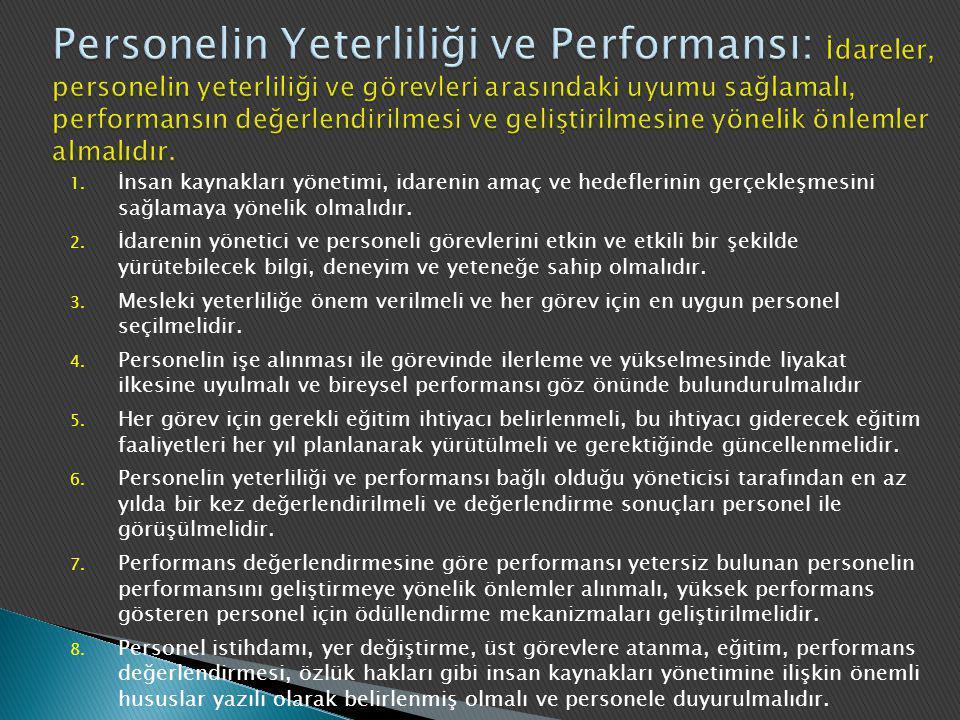 Personelin Yeterliliği ve Performansı: İdareler, personelin yeterliliği ve görevleri arasındaki uyumu sağlamalı, performansın değerlendirilmesi ve geliştirilmesine yönelik önlemler almalıdır.