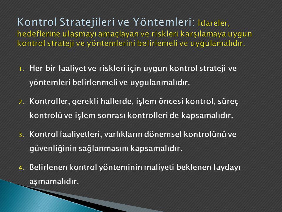 Kontrol Stratejileri ve Yöntemleri: İdareler, hedeflerine ulaşmayı amaçlayan ve riskleri karşılamaya uygun kontrol strateji ve yöntemlerini belirlemeli ve uygulamalıdır.