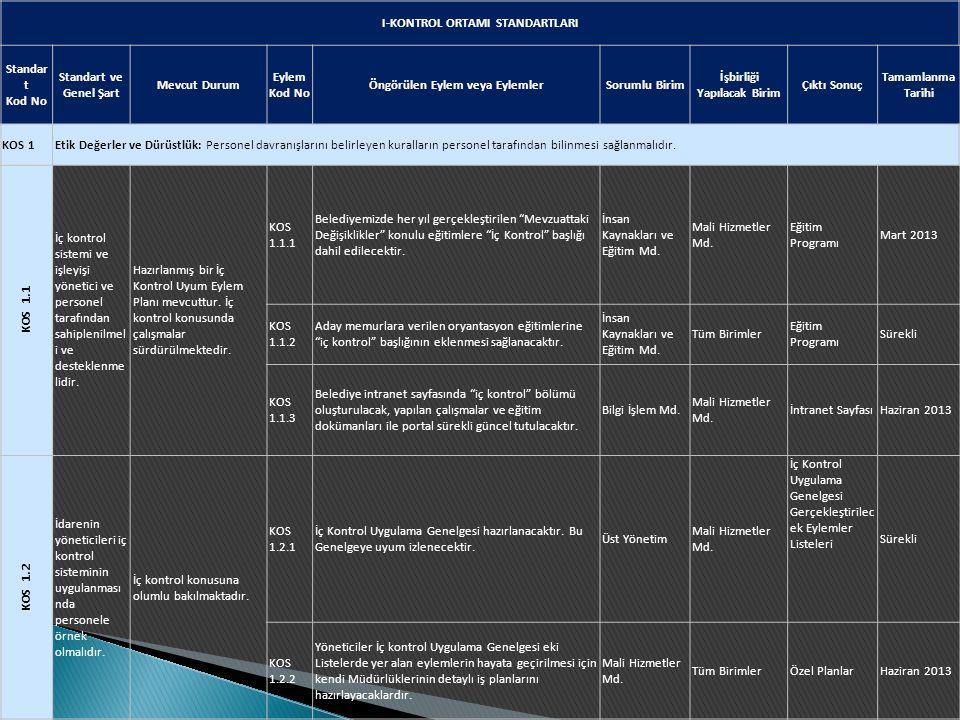 I-KONTROL ORTAMI STANDARTLARI Standart Kod No Standart ve Genel Şart