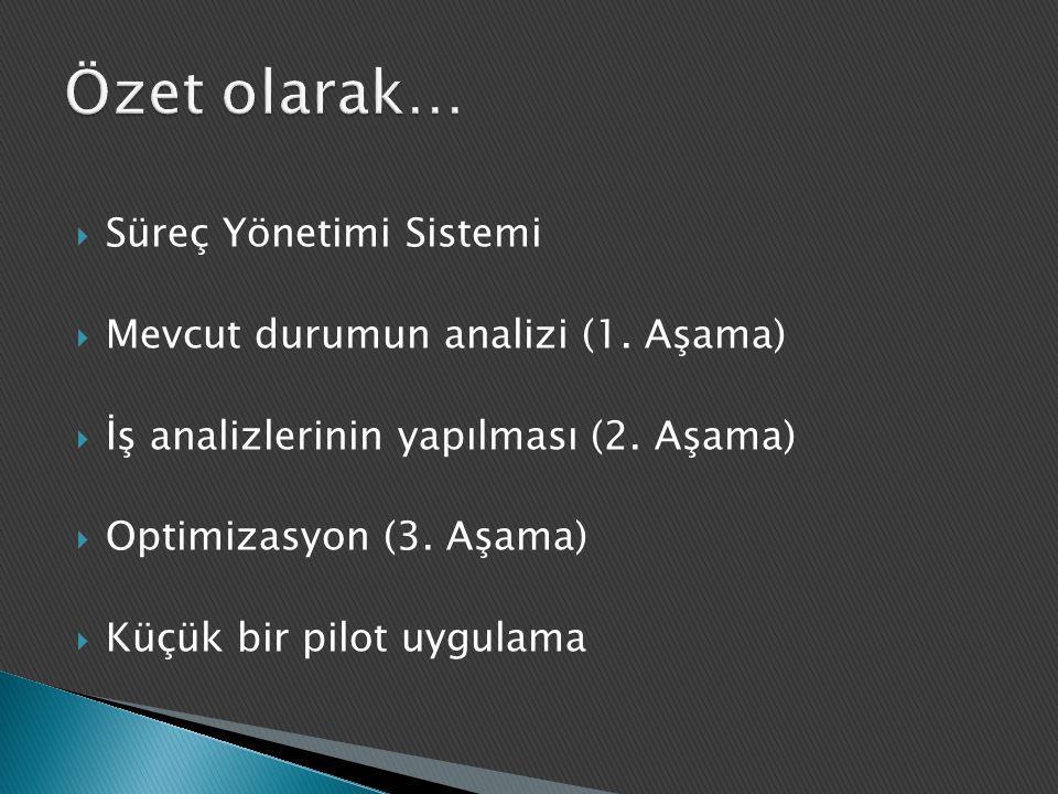 Özet olarak… Süreç Yönetimi Sistemi Mevcut durumun analizi (1. Aşama)
