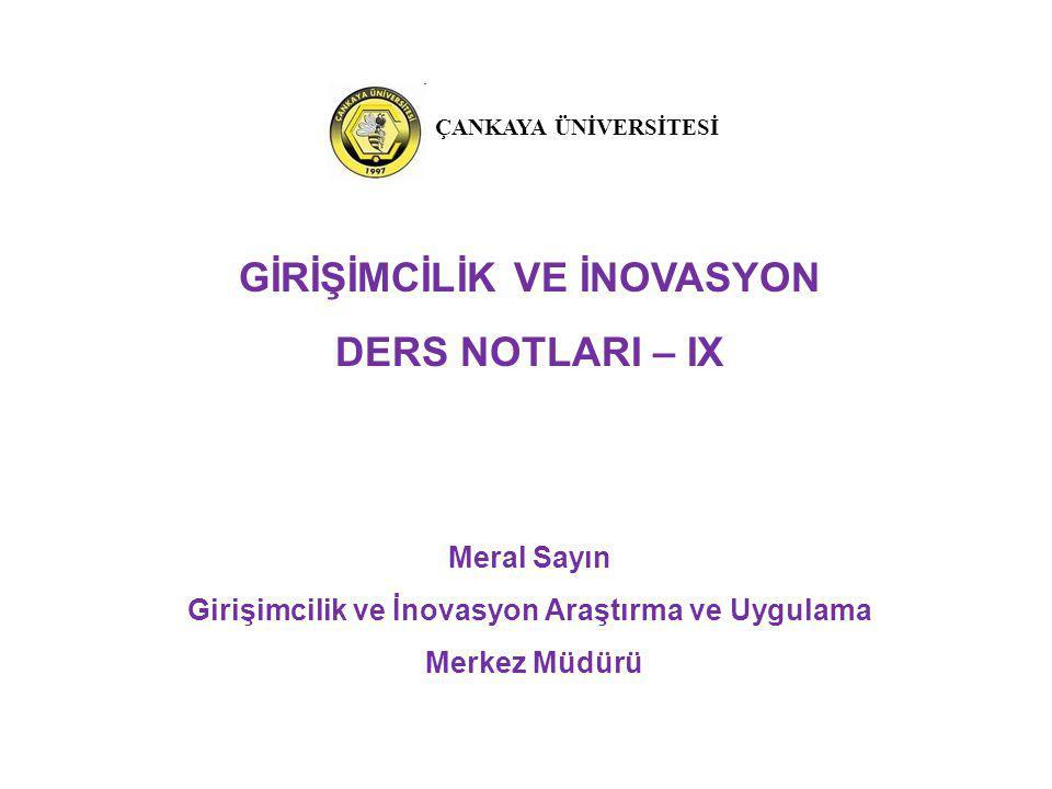 GİRİŞİMCİLİK VE İNOVASYON DERS NOTLARI – IX