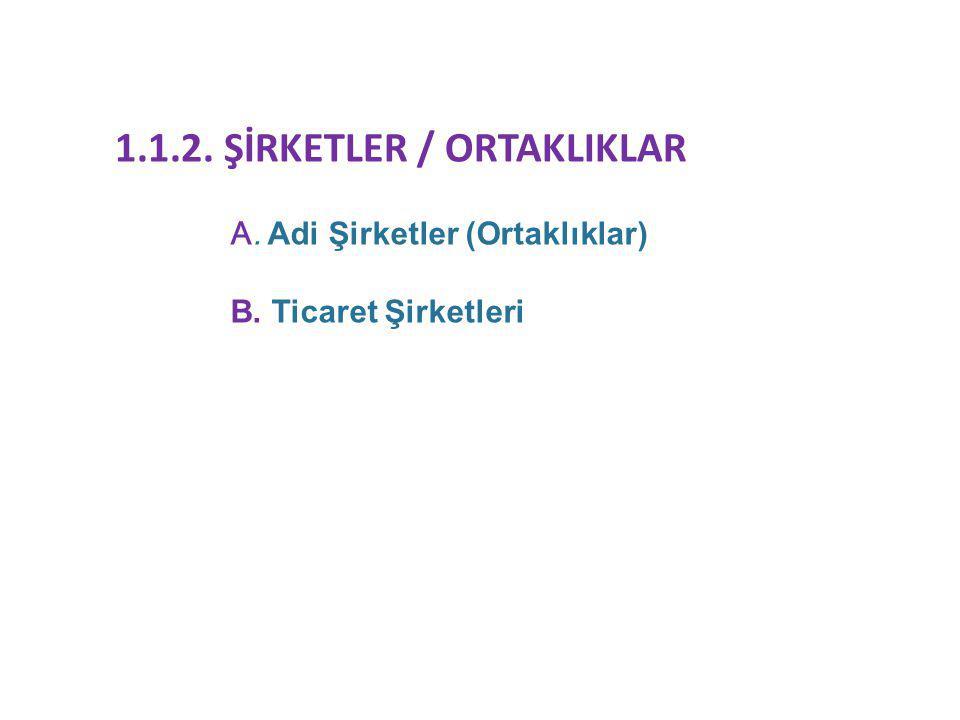 1.1.2. ŞİRKETLER / ORTAKLIKLAR