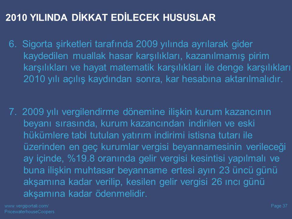 2010 YILINDA DİKKAT EDİLECEK HUSUSLAR