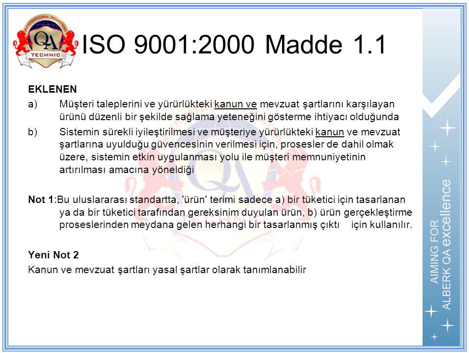 ISO 9001:2000 Madde 1.1 EKLENEN.